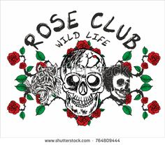 Red Rose and skull hand drawign graphic design vector art