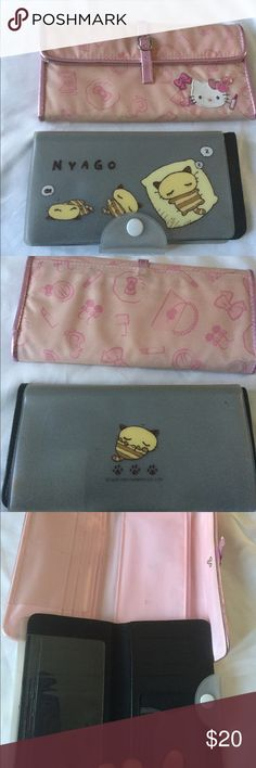 Hello kitty and Sanrio checkbook covers wallets. Hello kitty and Sanrio checkbook covers wallets. Both in good used condition no damage but have been loved. Hello Kitty Bags Wallets
