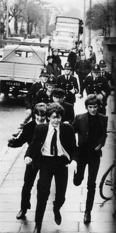 The Beatles during filming of 'A Hard Day's Night'
