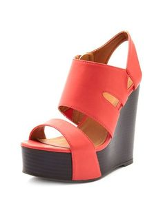 Cutout-Band Stacked Wood Wedge: Charlotte Russe - buying now
