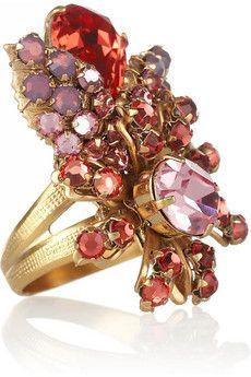 Bijoux Heart Ainse Je 24-karat gold-plated Swarovski crystal ring   NET-A-PORTER Swarovski Crystal Rings, Crystal Jewelry, Jewelry Box, Gold Jewelry, Jewelry Rings, Golden Ring, Fantasy Jewelry, Beautiful Rings, Fashion Rings