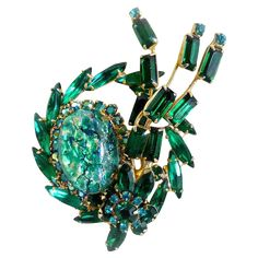 Julianna brooch green speckled cabochon navette rhinestones DeLizza from victoriascurio on Ruby Lane