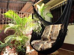 Black Sitting Hammock Hanging Chair Natural Cotton and by hamanica, $36.00