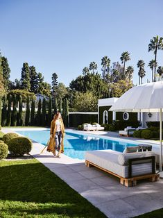 Kelly Wearstler shot at her home in Beverly Hills for the March/April 2018 Issue of Vogue Living Australia. Photographed by Anson Smart. Outside Living, Outdoor Living, Outdoor Pool, Outdoor Spaces, Swimming Pool Designs, Swimming Pools Backyard, Boutique Interior Design, Landscape Design Plans, Kelly Wearstler