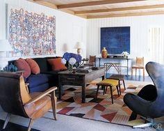 Carefully edited, serenely contemporary settings that invite laid-back living are the strong suit of this East Hampton, New York–based designer.  fuss-free projects are finely tailored and warmly textured, incorporating clean-cut fabrics, strong-lined vintage, antique, and modern furniture