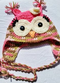 Pink Owl Hat for Kids - Made to Order by Keep'em in Stitches