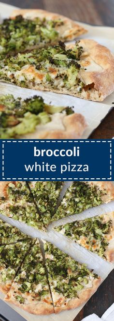 broccoli white pizza has roasted broccoli and a creamy garlic sauce that's actually vegan – there's an option to keep the whole pizza vegan/dairy free. Mushroom Pizza Recipes, White Pizza Recipes, Dinner Recipes, White Broccoli Pizza Recipe, Vegan Pizza Recipe, Dairy Free Pizza, Creamy Garlic Sauce, Vegetarian Recipes, Recipes
