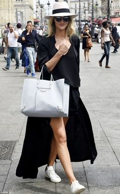 Rosie Huntington-Whiteley.. Chloe Crepe De Chine Tank, Barbara Bui Wrapover Trench, Maison Michel. Hat, Balenciaga Tote, Christian Dior Sunglasses, and Isabel Marant Etoile Sneakers..