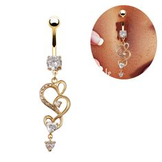 2014 New Sexy Dangle 18K Gold Navel Ring 14G Crystal Clear Belly piercing FR621 #Eudora
