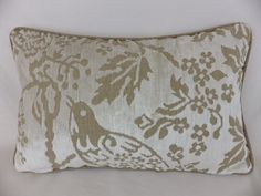 Nina Campbell woven soft velvet chenille with plain natural linen design, on the front and back. Nina Campbell, White Velvet, Cushions, Pillows, Natural Linen, Winter White, Tapestry, Bird, Floral