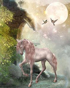 Papier peint / Poster géant en textile sans raccord « Cheval unicorne dans la nuit 1 » 210cm(L) x270cm(H) Atelier WYBO http://www.amazon.fr/dp/B00O4YEO50/ref=cm_sw_r_pi_dp_2Vnuub1BTS6MH