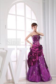 Amazing Grape Beading Strapless Taffeta/ Ice Yarn A-Line Prom Dress