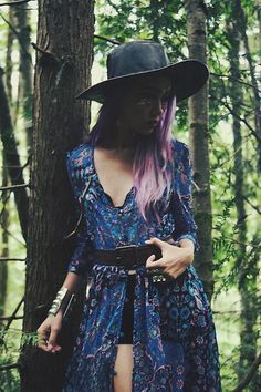 Get this look: http://lb.nu/look/8297665  More looks by Stardust Bohemian: http://lb.nu/stardustbohemian  Items in this look:  Zaful Blue Boho Maxi Dress, Tattify Face Jewels, Lack Of Color Aus Leather Hat   #bohemian #retro #vintage #70s #hippie #boho #gypsy #psychedelic #mermaidhair