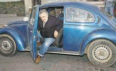 José Mujica, President of Uruguay and his car, a volkswagen...