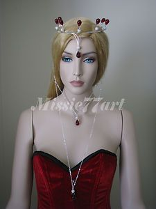 The Red Queen Silver plate Crown circlet headpiece with Czech Glass & Diamantes $119.95