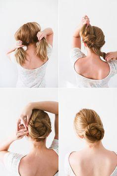 Coque torcido - Esse coque é incrível, para começar é só amarrar o cabelo e finalizar com grampos. <3