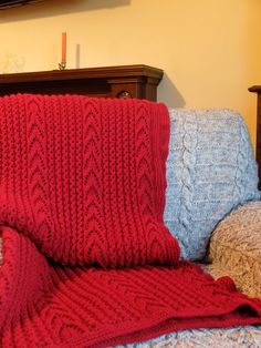 Hand knitted throw red chunky wool. by RosalindKennedyPRINT