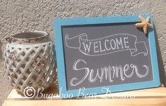 Welcome Summer Chalkboard summer decor by BugabooBearDesigns, $15.00