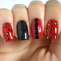 Zoya - Storm, Unnamed red Color Club & Orly - Glitz & Glamour & studs from @pueencosmetics