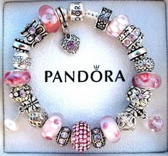 Authentic Pandora 925 Sterling Silver Bracelet Pink Ice w Murano Beads S13 | eBay