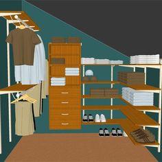 Sloped Ceiling Closet: Honey Maple