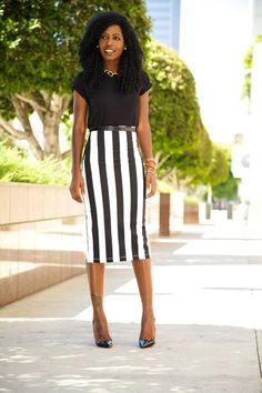 Vertical stripe pencil skirt