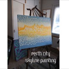 'Perth City Sunrise' hand-painted art in acrylic-on-canvas. Prints now available at @redbubble @society6 @fineartamerica Painted with @daler_rowney #system3 #acrylicpaint .... #perth #westernaustralia #art #artvideo #instaart #instaartist #instaperth #per