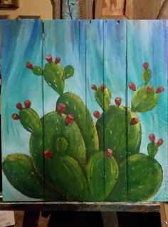 Cactus on pallet wood art by Stacie Sheets, You are in the right place about Cactus raros Here we offer you the most be. art decoracion dibujo diy garden indoor painting plants drawing appartement bathroom home decor wood room decor Wood Pallet Art, Pallet Painting, Painting On Wood, Wood Art, Cactus Decor, Cactus Art, Cactus Plants, Cactus Painting, Southwestern Art