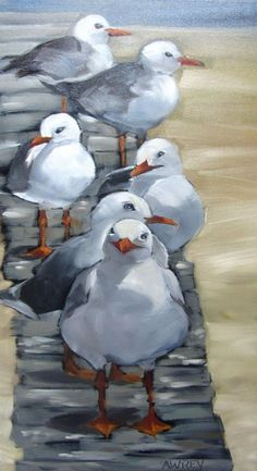 Follow The Leader Oil Painting -- I like the forefront gull: looks like he's smiling!
