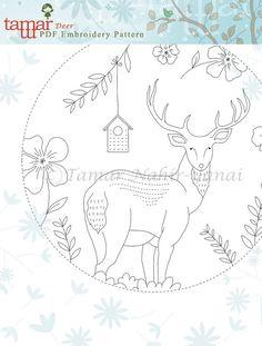 Embroidery Pattern Instant Download Blue Deer par TamarNahirYanai