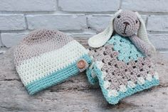 Crochet baby and toddler hat and bunny lovey, free pattern. Perfect for a gift. Caron cotton cake crochet pattern idea. Three sizes.