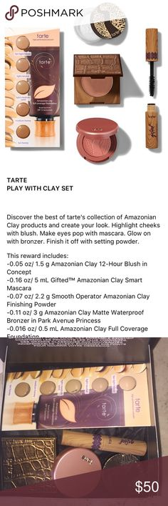 Tarte Play With Clay Discovery Set Brand new in box! This is a 500 point Sephora reward (equivalent to $500). Comes with waterproof bronzer in shade- park avenue princess. gifted mascara. clay full coverage foundation in 5 shades. 12-hour blush in shade- concept. finishing powder. all unused. tarte Makeup Foundation
