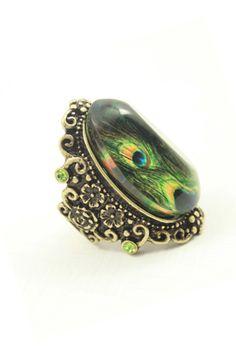 """Peacock Feather"" Ring    $11.99 http://paradiseinternetmall.net/WOMEN_S_FASHIONS.html"