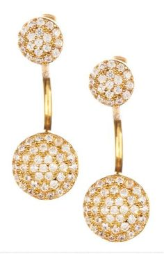 High-Low Pave Disc Earring