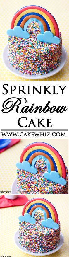 A mini RAINBOW CAKE covered in colorful sprinkles. Fun for kids parties! Tutorial included! From cakewhiz.com