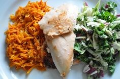 Costco Healthy Dinner fix - Rotisserie chicken, kale salad and honey chipotle sweet potato.