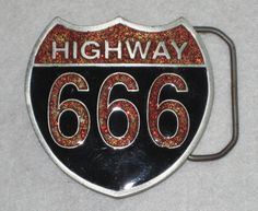 Highway 666 Skull Shield Belt Buckle Pewter with Enamel Great American Products #GreatAmericanProducts