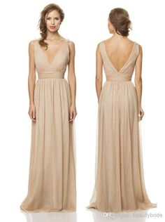 gown cocktail dress on sale at reasonable prices, buy Hot&Sexy 2014 Simple V Neck Champagne Chiffon Long Bridesmaid Dresses Backless Formal Gowns Beach Bridesmaid Dress For Weddings from mobile site on Aliexpress Now! Tan Bridesmaids, Bari Jay Bridesmaid Dresses, Prom Dresses, Wedding Dresses, Long Dresses, Evening Dresses, Grecian Bridesmaid Dress, Champagne Bridesmaids, Chiffon Dresses