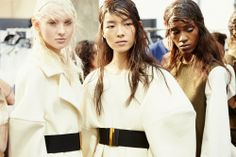 Nastya Sten (Elite), Fei Fei Sun (Women) and Leila Nda (Fashion) backstage at Marni AW14