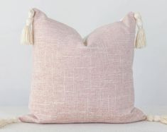 Blush Pillow Cover Light Pink Pillow Covers, Pink Texture Pillow Cover, Pink Tassel Pillow, Blush Pink Pillow Cover with Tassels Handmade Pillow Covers, 20x20 Pillow Covers, Handmade Pillows, Orange Pillow Covers, Orange Pillows, Blush Pillows, Pink Texture, Pink Cushions, Pillow Texture