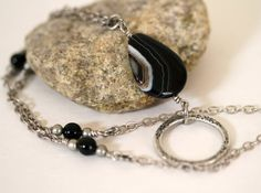 Black Brown and White Gemstone Eyeglass Necklace ID by GemNEyes