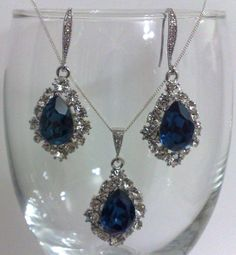 Something Blue Bridal Jewelry Navy Montana by YJCouture on Etsy, $48.00