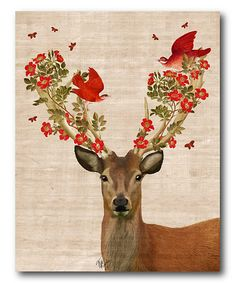 Look at this Deer & Love Birds Canvas Wall Art on #zulily today!