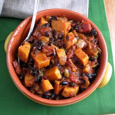 Sweet Potato Black Bean Chili. Spicy, filling, delicious. Even froze and reheated well.