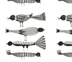 Black and White Birds fabric by elsita on Spoonflower - custom fabric
