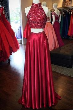 Dressywe Sparkling Red Halter Two-piece Split Prom Party Dress with Beading