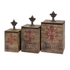 These charming wood boxes have a fleur-de-lis Paris motif on their natural finish fir wood. Set of 3 fleur-de-lis Paris boxes. Fir wood with natural finish. Style # at Lamps Plus. Storage Boxes With Lids, Decorative Storage Boxes, Small Storage, Storage Ideas, Metal Baskets, Paris Theme, Paris Decor, Kitchen Themes, Kitchen Ideas