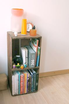 """crate bookshelf-never knew what I did in my first apartment would become """"pinnable""""."""