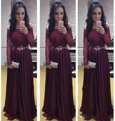 Elegant Dark Burgundy Evening Dresses Long Sleeve Off The Shoulder Lace A Line Formal Prom Gowns Custom Made Abendkleider Online with $145.13/Piece on Wheretoget's Store | DHgate.com