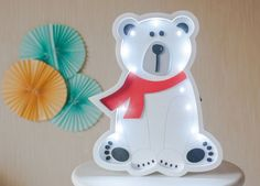 Our product is the unique White Bear night lamp that is made with love and care for the most important people in your life. This White Bear night light works on the simple batteries, which is very convenient because you can place it anywhere you want. Marquee light is made from birch plywood